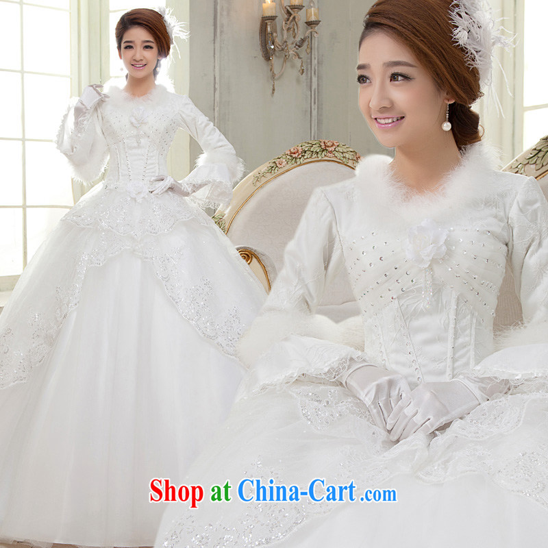 A good service is 2015 winter new bride wedding dress long-sleeved white graphics thin with wedding dress winter clothing white 2XL