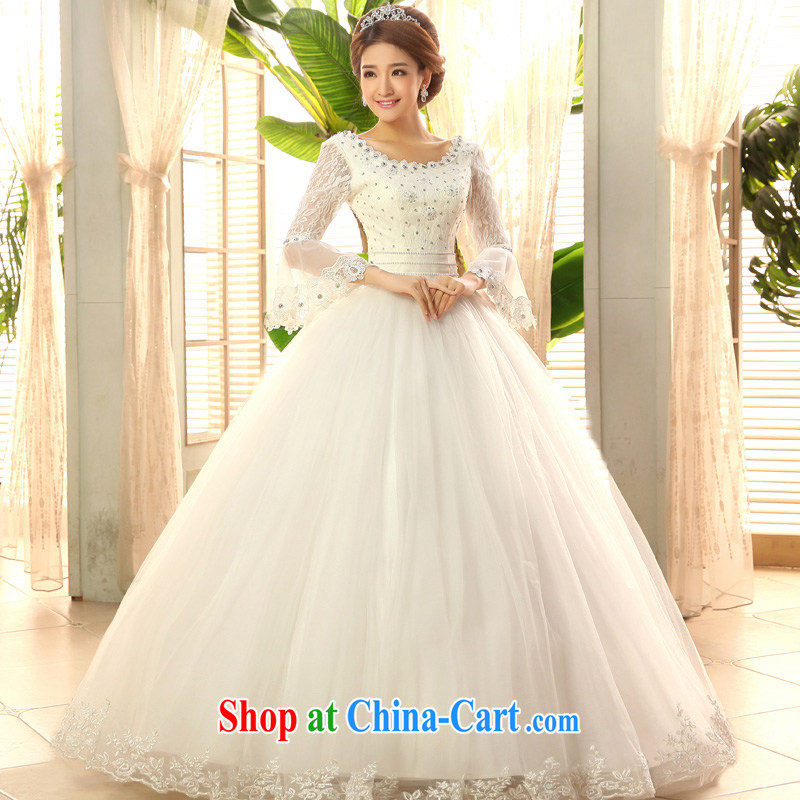 2015 new, serving a good solid Korean Princess horn long-sleeved bridal wedding dress with sweet wedding dress white XXL