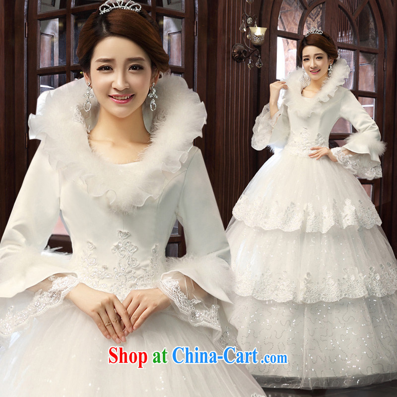 A good service is 2015 new Korean bridal Princess winter Long-Sleeve alignment to cultivating wedding wedding dress white XXL