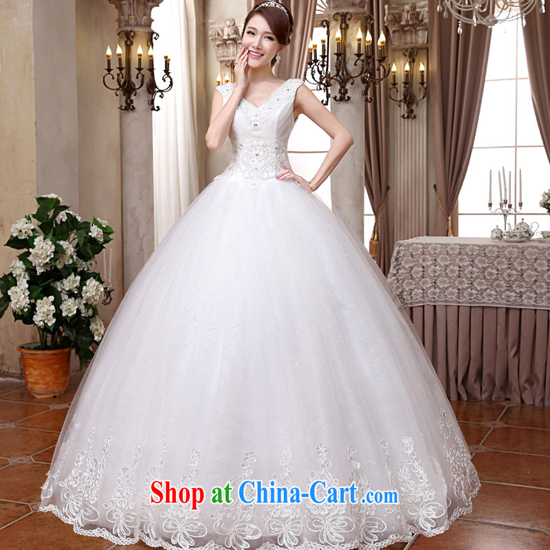 A good service is 2015 new Korean bridal wedding dress Deep V collar double-shoulder with stylish shaggy dress wedding white XXL