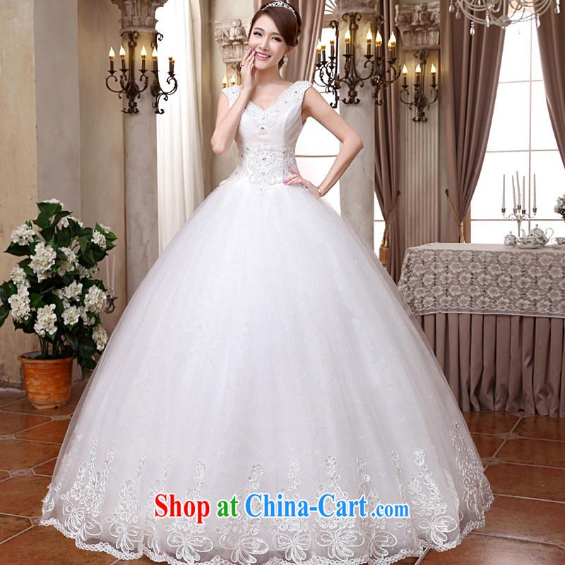 A good service is 2015 new Korean bridal wedding dress Deep V collar double-shoulder with stylish shaggy dress wedding white XXL