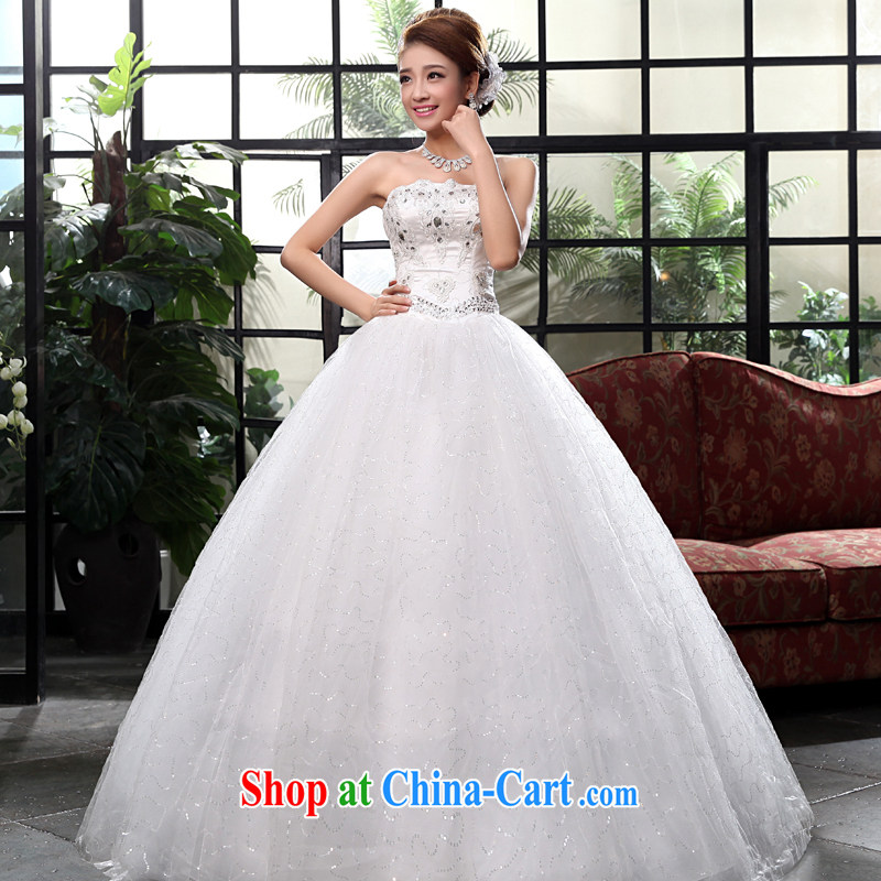 A good service is 2015 new Korean fashion bridal wedding dress wiped his chest to Princess shaggy dress strap wedding white XXL