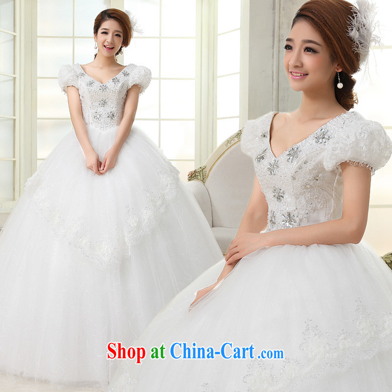 A good service is 2015 new Korean bridal wedding dress a shoulder-shoulder bubble cuff with shaggy dress wedding white 4XL