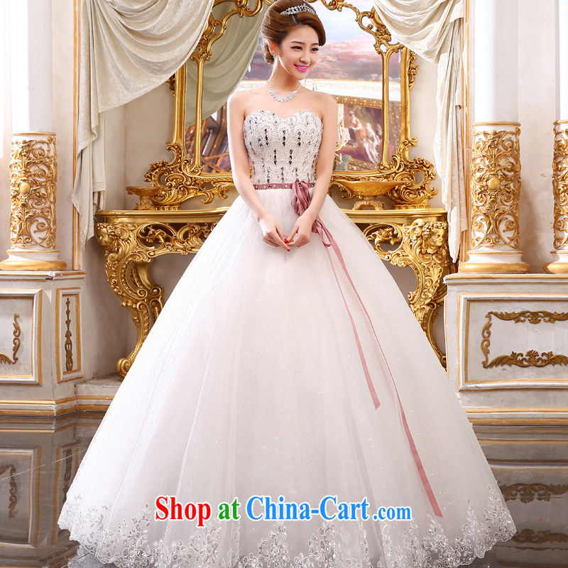 A good service is 2015 new bride wedding dress Korean fashion Princess Mary Magdalene his chest and shaggy dress tie wedding white 4XL