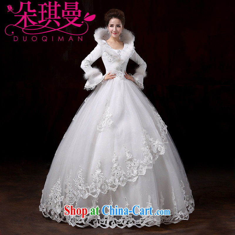 Flower Angel Cayman 2014 winter new Korean wedding dresses with long-sleeved the cotton thick marriage warm white wedding canopy skirts XXL