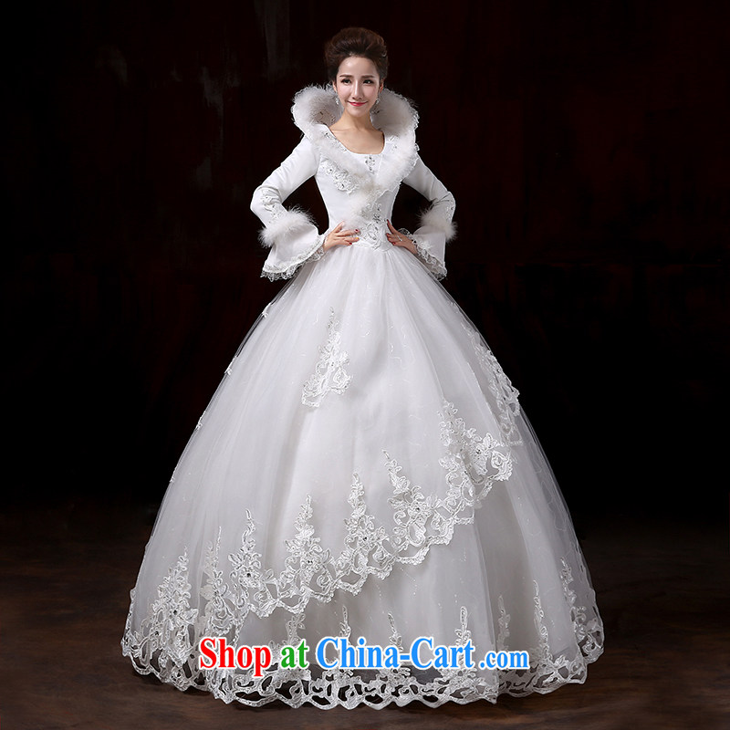 Flower Angel Cayman 2014 winter new Korean wedding dresses with long-sleeved the cotton thick marriage warm white wedding canopy skirts XXL, flower Angel (DUOQIMAN), and, on-line shopping