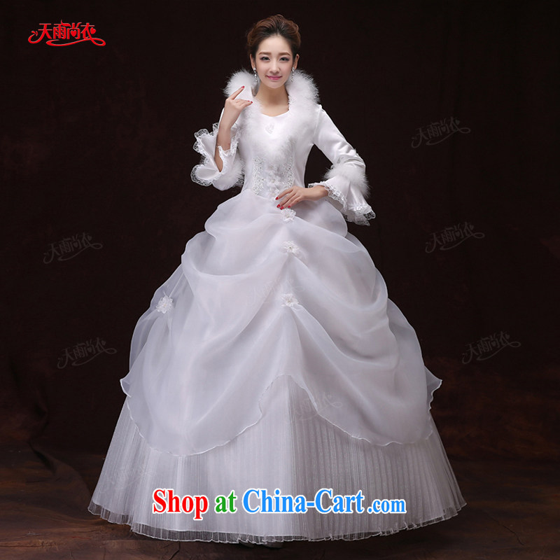 Rain is still Yi marriages winter wedding white long-sleeved folder inserts cotton drill with flowers and elegant hotel, toast clothing dress HS 903 white XXL