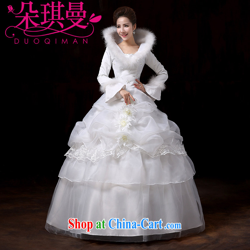 Flower Angel Cayman exclusive 2014 new winter bride, long-sleeved wedding thick warm winter marriage with flowers wedding quilted winter XXL