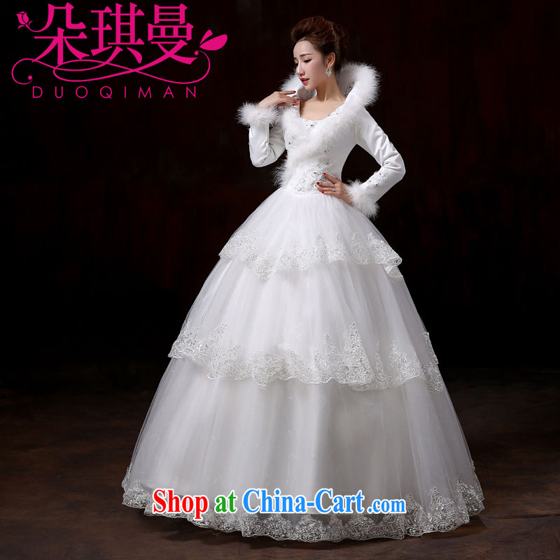 Flower Angel Cayman 2014 new stylish wedding dresses, winter winter long-sleeved larger thick warm white winter clothes quilted wedding XXL