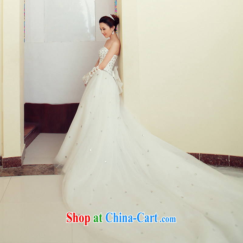 The bride's new Korean sweet Princess Deluxe grew up tails wedding 740 tail L, the bride, shopping on the Internet