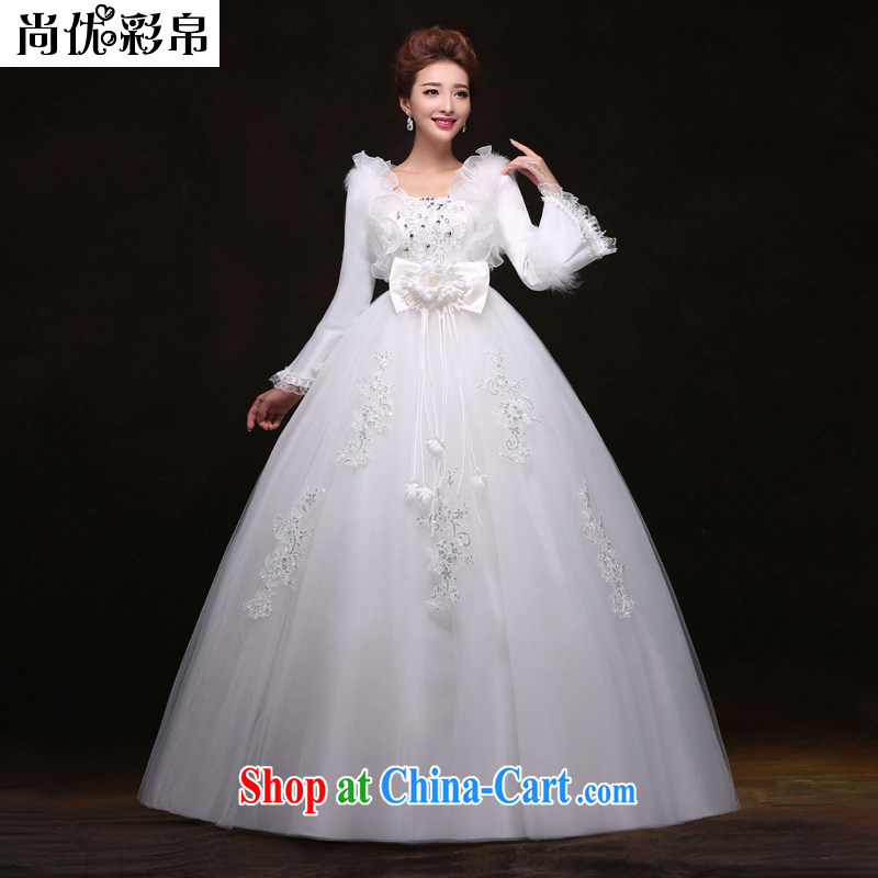 It is also optimized condolence pregnant women high waist wedding dresses and cotton binding with warm winter clothing wedding YUTK 2086 white XXL