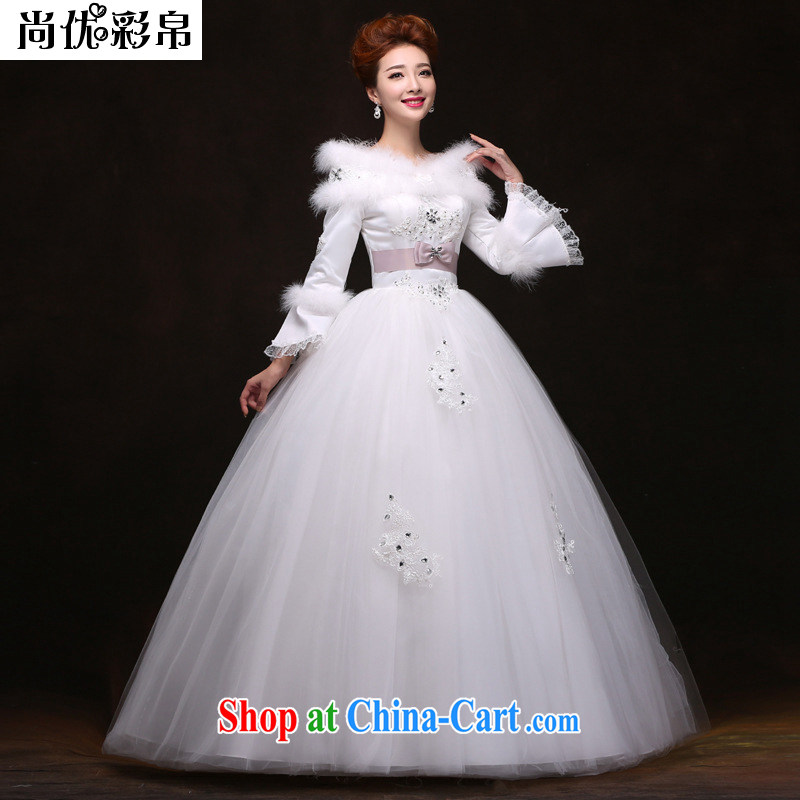 It is also optimized their swords into plowshares winter, thick field shoulder long-sleeved the cotton wedding dresses YFTK 2088 white XXL