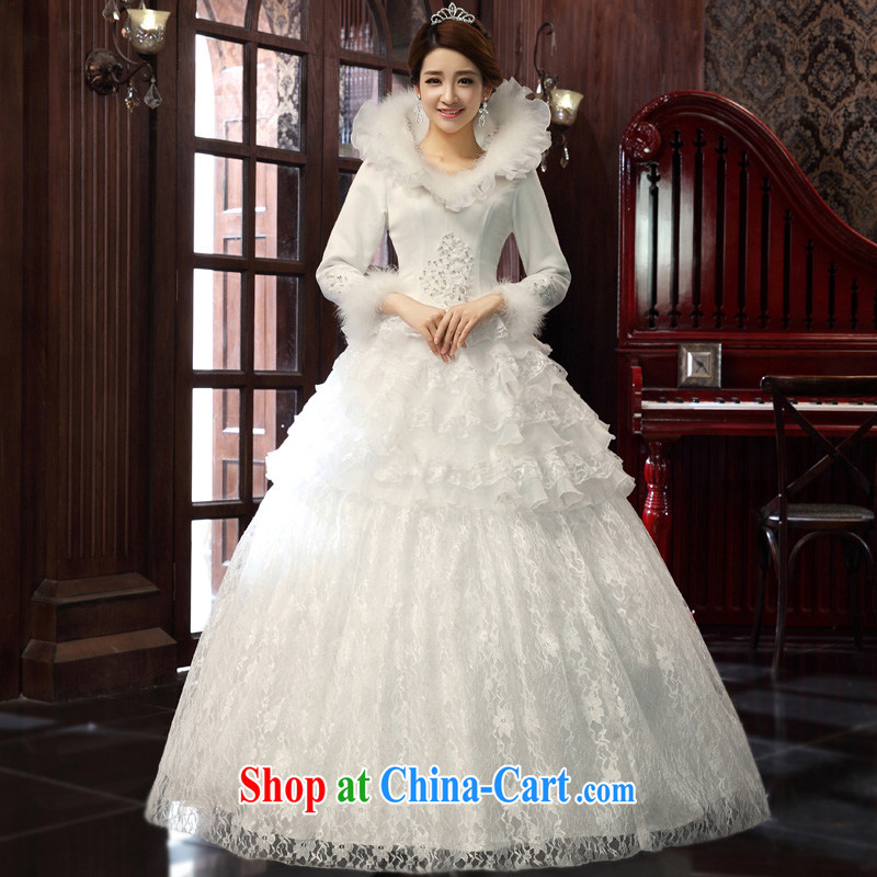 A good service is 2015 new Korean bridal winter for the lace with graphics thin wedding dress wedding dress white XXXL