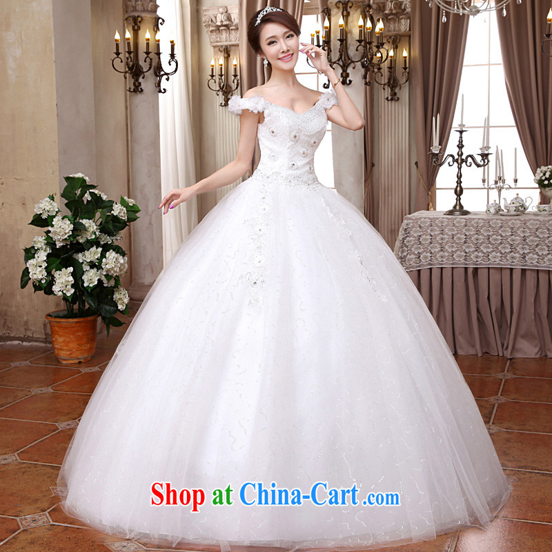A good service is 2015 new Korean bridal wedding dress V for cultivating long with graphics thin wedding dress white XXL