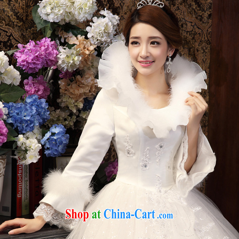 A good service is 2015 new bride winter wedding dress long-sleeved lace-up collar graphics thin with wedding dress white XXXL