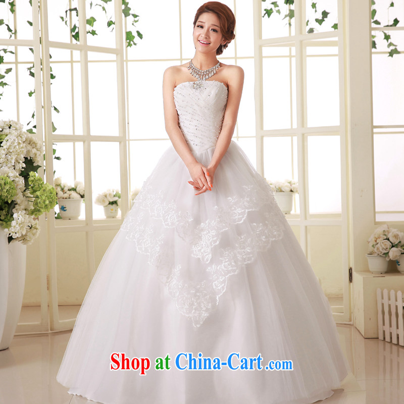 Service was good at Korean bridal wedding dress Princess Mary Magdalene chest parquet drill sweet with tie-cultivating wedding dress dress white 4XL