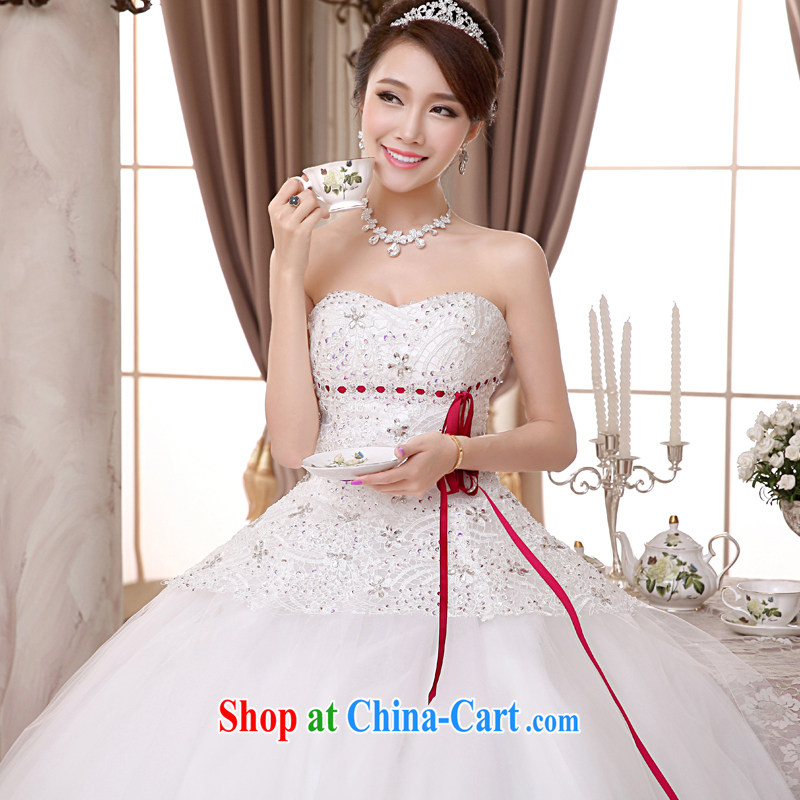 A good service is 2015 new Korean bridal wedding dress wiped chest strap with sweet Princess wedding dress white XXL