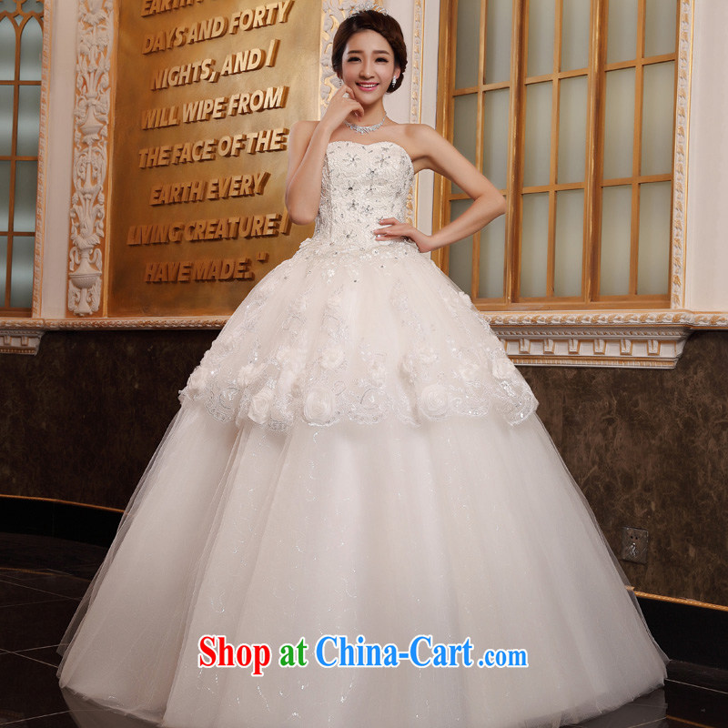 A good service is 2015 new bride Korean fashion lace wiped his chest to graphics thin wedding dress wedding dress white 4XL