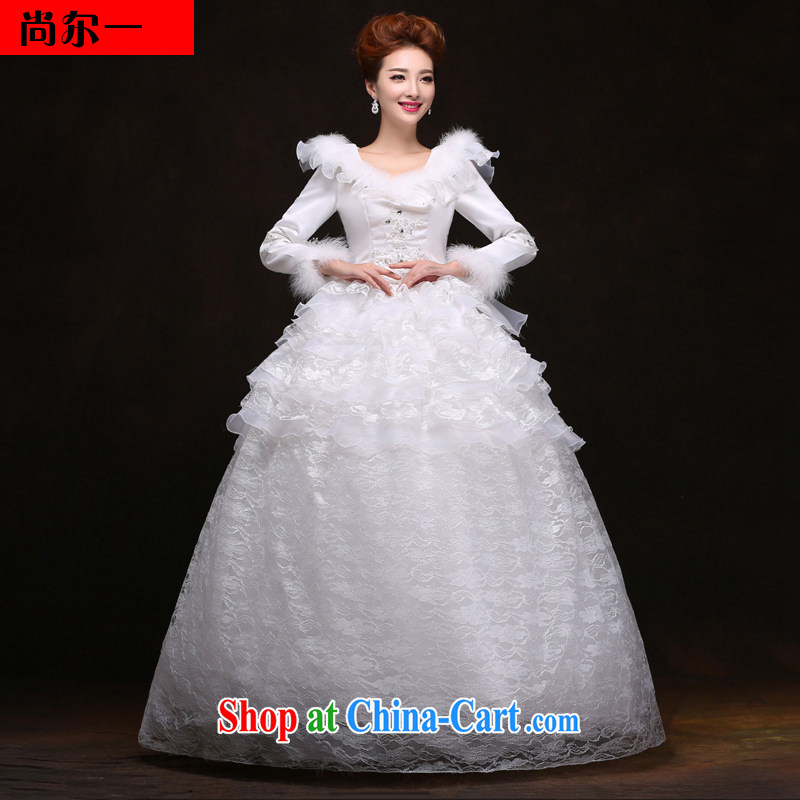 There is a Korean winter wedding New Field shoulder hair for long-sleeved thick winter clothes with YY 2091 white XXL