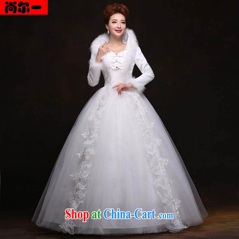 It's a winter wedding dresses Princess cultivating the cotton thick winter clothes long-sleeved warm with strap dress with 09,944 YY white XXL