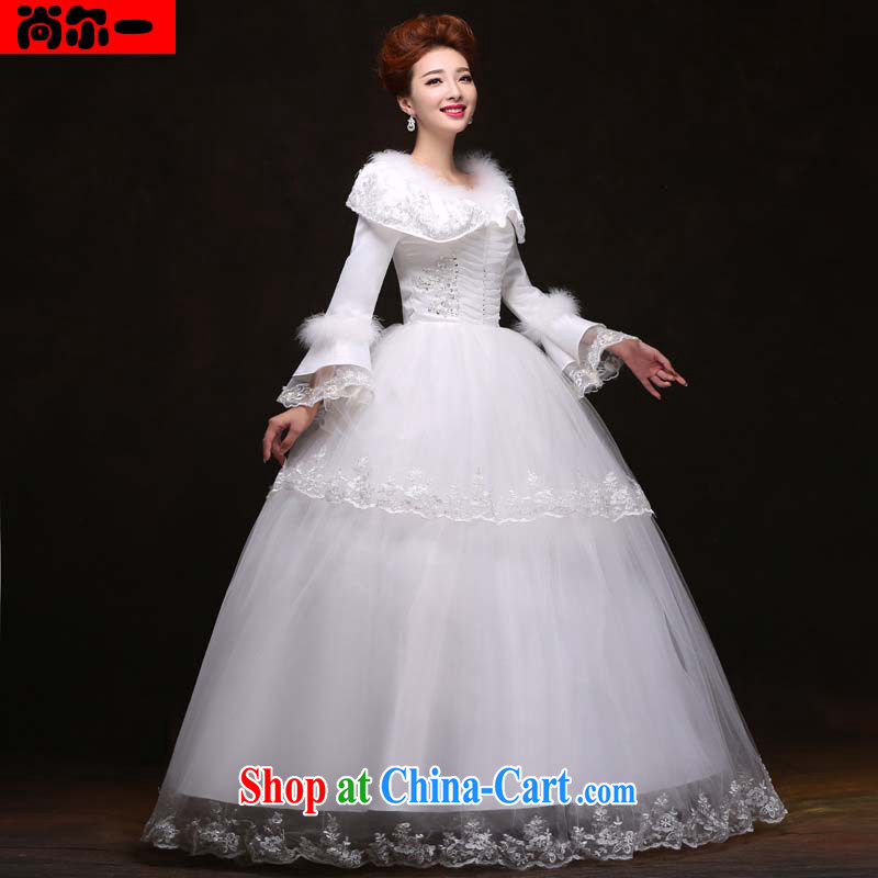 Still, 12,014 winter new stylish long-sleeved the cotton married women warm winter clothing with wedding dresses YY 091,024 white XXL