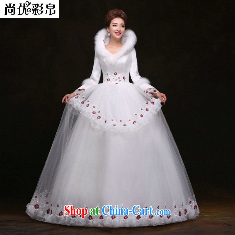 It is also optimized condolence winter new long-sleeved with wedding dresses beauty graphics thin Princess shaggy dress wedding YY 3687 white XL