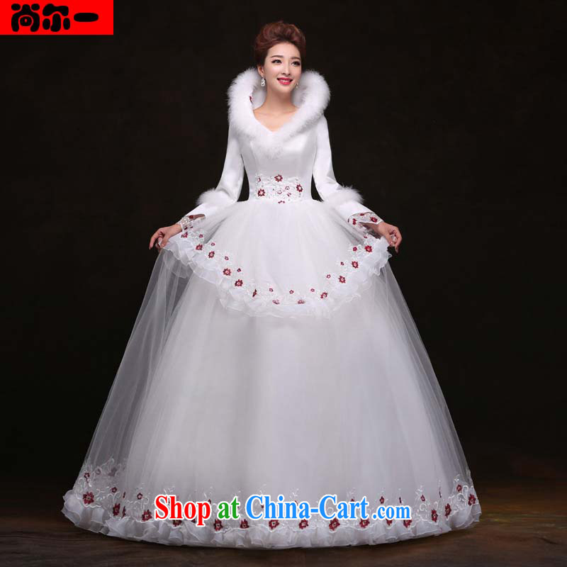 There's a winter new long-sleeved with wedding dresses beauty graphics thin Princess shaggy dress wedding YY 091,107 white XXL