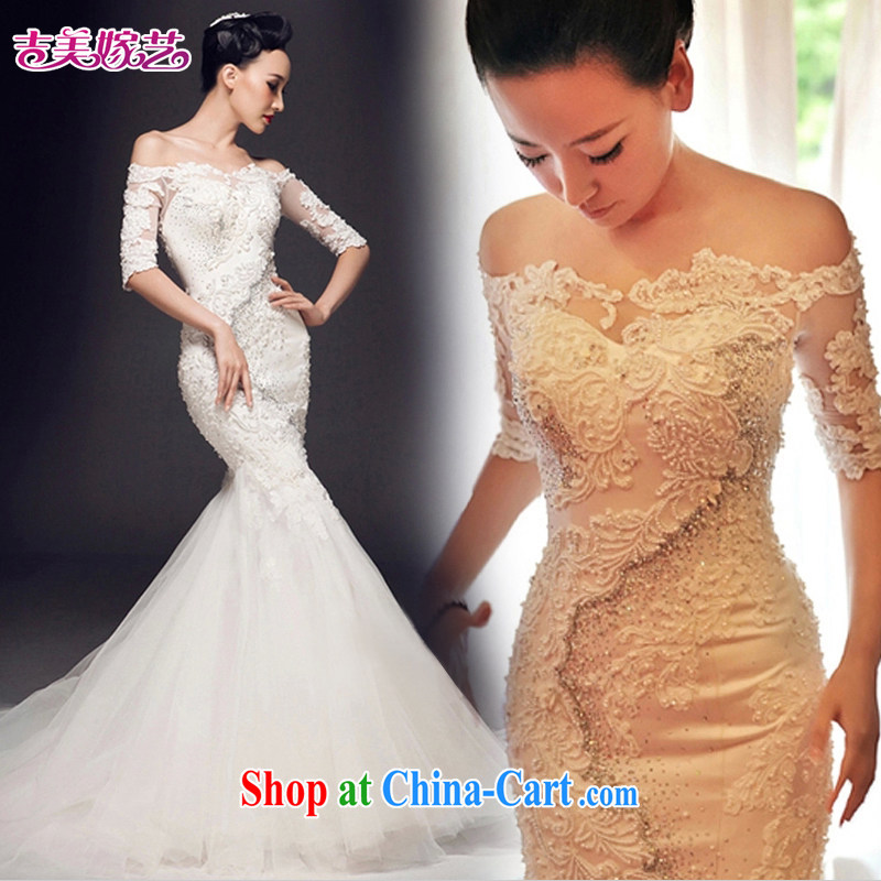 wedding dresses Jimmy married arts 2015 New Field shoulder lace beauty in crowsfoot HT cuff 7157 bridal wedding 1M tail lace XL
