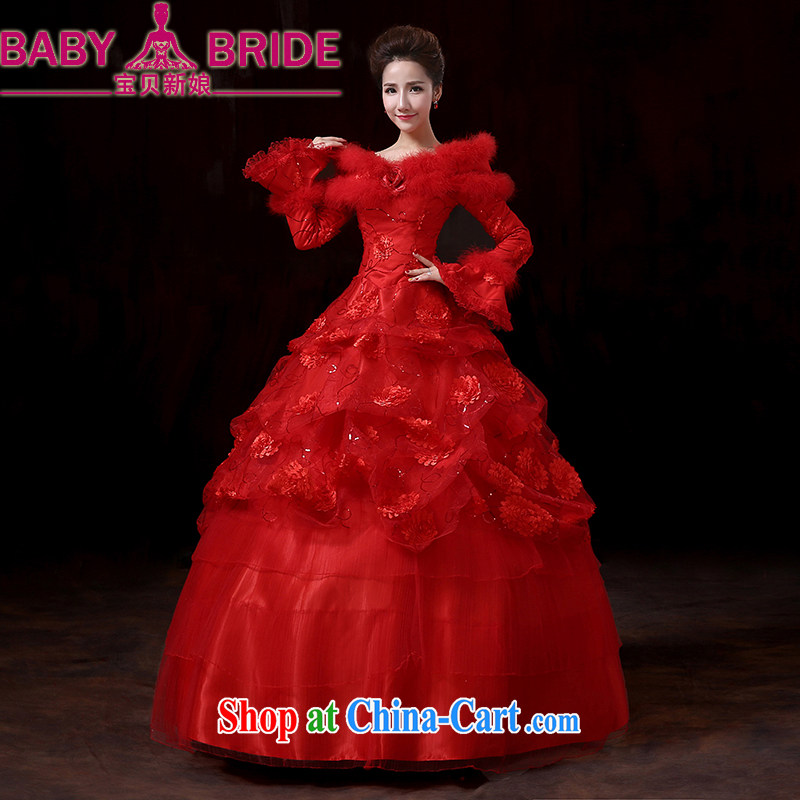 Baby bridal new 2014 winter long-sleeved wool collar thick tie-clip cotton wedding winter clothing red wedding marriages served toast XXL