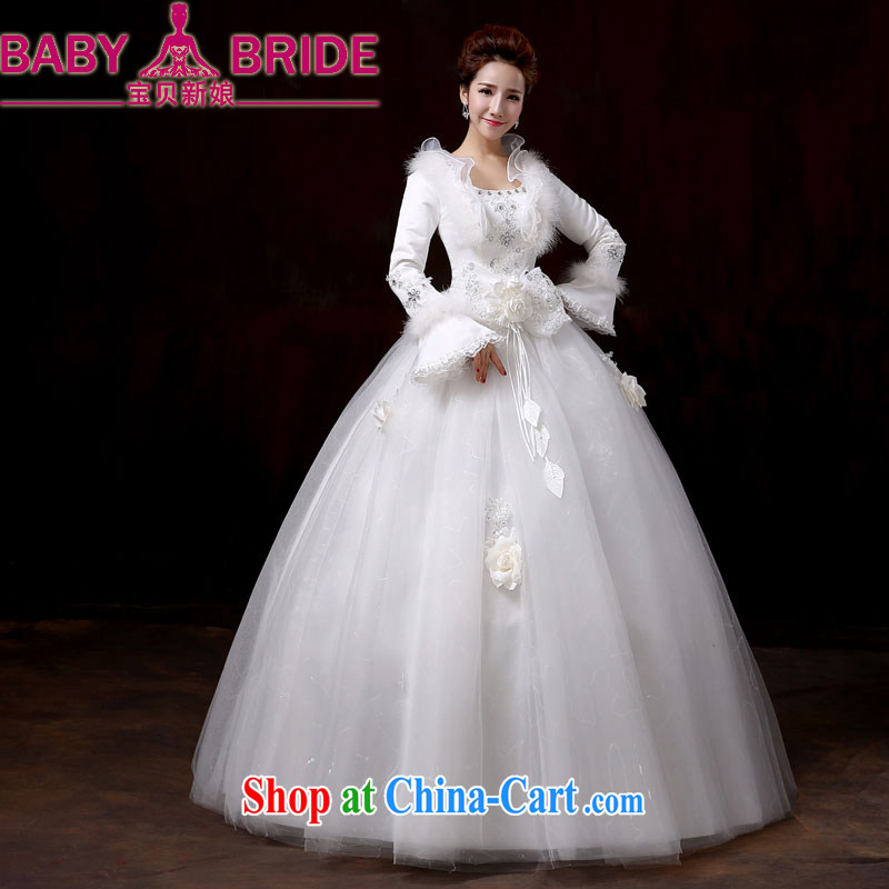 wedding dresses 2014 new winter clothes thick winter and cotton long-sleeved tie-waist high Korean pregnant women larger Princess wedding XXL
