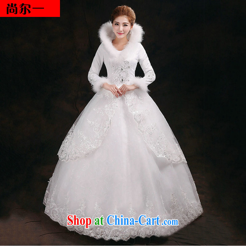 Still, 12,014 in winter, thick with Korean shaggy skirts and long-sleeved cotton, for wedding winter 2910 YY white XL