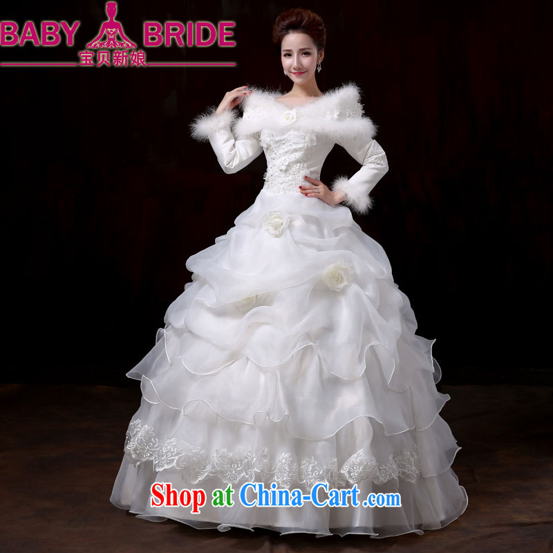Baby bridal winter, long-sleeved and cotton with wedding dresses Korean version the code graphics thin 2014 new winter cake wedding female XXL
