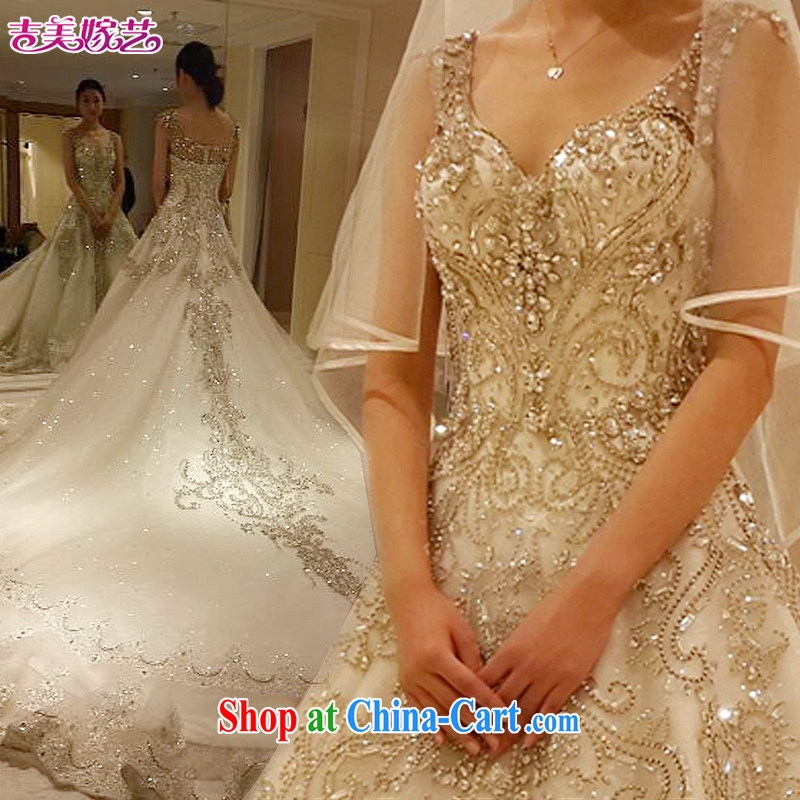 Jimmy married arts 2015 new wedding dresses shoulders Korean version the tail water drilling shaggy skirts HT 7697 wedding dress crystal drill the resin drill with XXXL