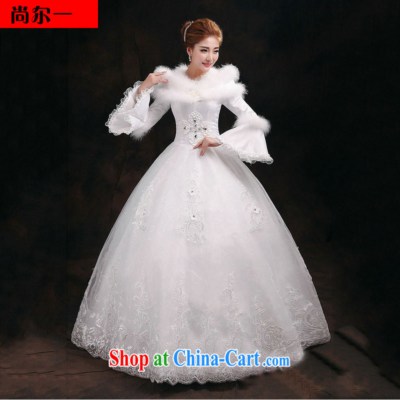 There is a bride's winter wedding long-sleeved thick winter, wedding sweet graphics thin wedding YY 2912 white XL