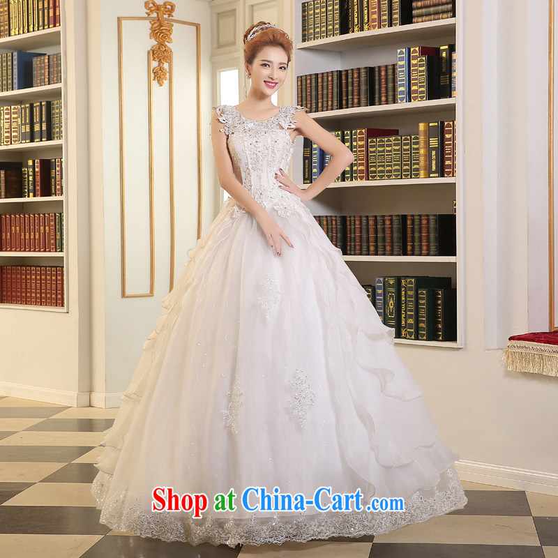 The Vanessa wedding dresses 2015 summer new marriages wedding double-shoulder lace wedding white strap long wedding a field shoulder with wedding A field dress white XXL _the Chest on the 3 piece_