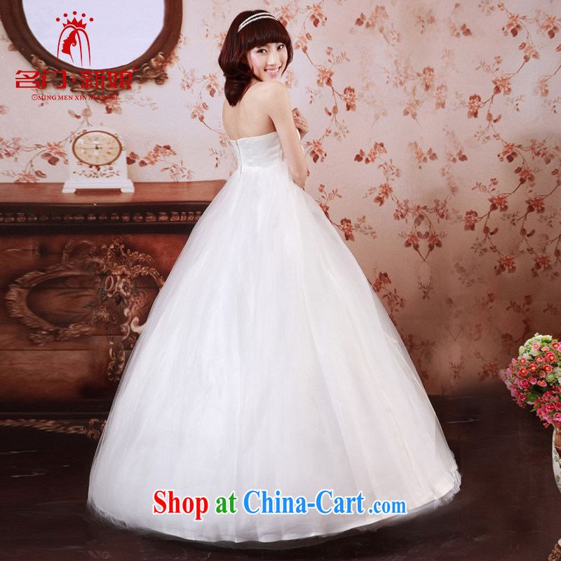 The pregnant women wedding dresses 2015 new Korean sweet Mary Magdalene Princess chest high waist graphics thin wedding 733 XL