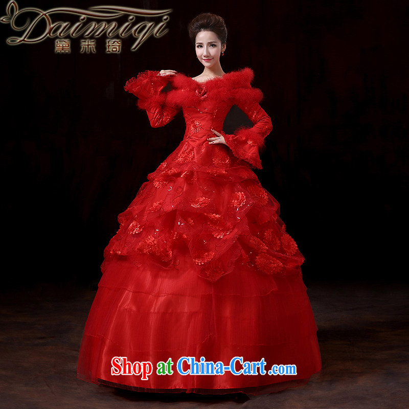 Diane M Ki new 2014 winter long-sleeved Princess cuff for gross thick strap quilted wedding winter clothing red wedding marriages served toast XXL