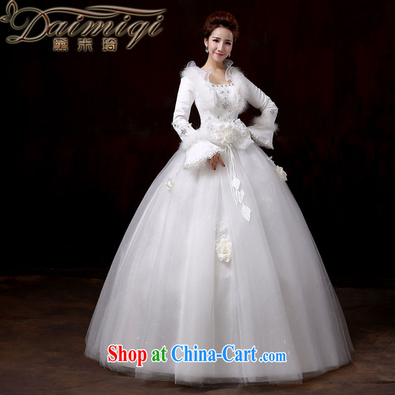 wedding dresses 2014 new flouncing collar Bow Tie winter with thick winter and cotton long-sleeved tie-waist high Korean pregnant women larger wedding XXL