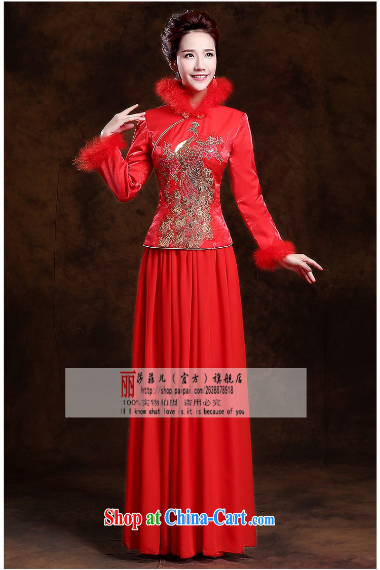 Autumn and Winter bridal thick hair for long dresses new 2014 red retro wedding dress toast serving long-sleeved quality assurance and cotton thick pictures, price, brand platters! Elections are good character, the national distribution, so why buy now enjoy more preferential! Health