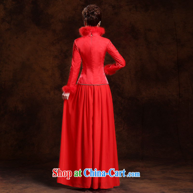 Autumn and Winter bride's thick hair for long dresses new 2014 red retro wedding dress toast serving long-sleeved quality assurance the cotton thick, love so Pang, shopping on the Internet
