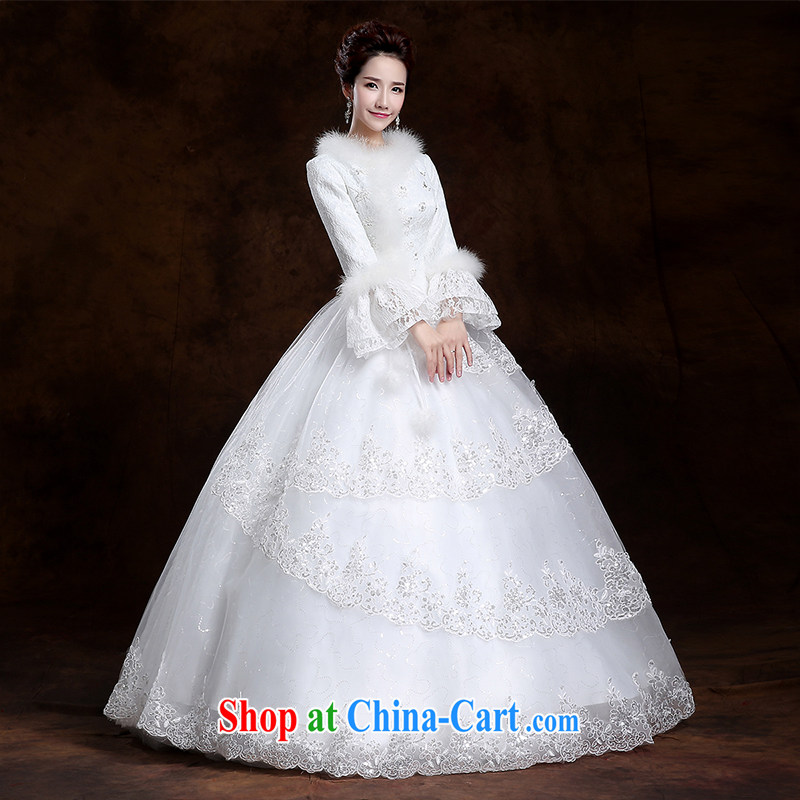 Winter 2014 new paragraph to align with long-sleeved wedding dresses thicken the cotton field shoulder wedding code custom upscale lace wedding thick