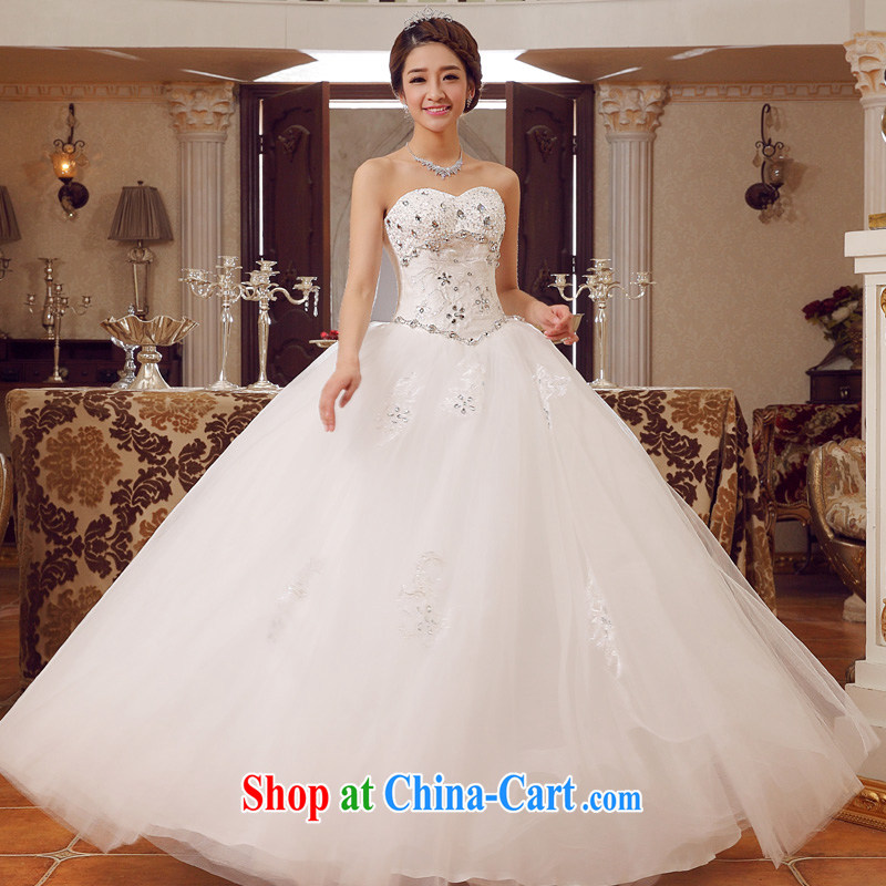 A good service is 2015 new bride Korean stylish wedding dress wiped his chest parquet drilling cultivation with straps wedding white 4XL, good service, and, shopping on the Internet