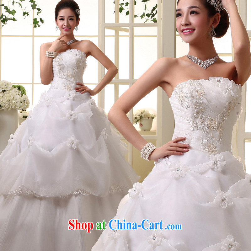 A good service is a new, 2015 Korean Bridal Fashion wedding dress Princess sweet wiped his chest, wedding dress white 4XL
