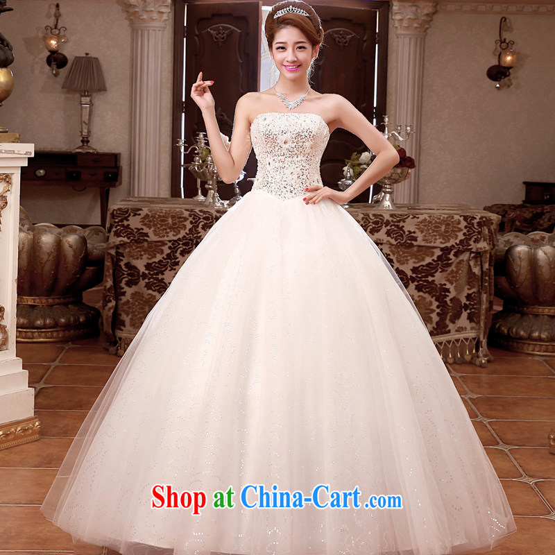 A good service is 2015 new bride wedding dress Korean Princess wiped his chest and stylish tie wedding dress white XXL