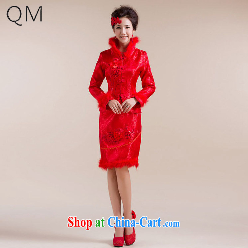 Shallow end _QM_ wedding dresses bridal wedding dresses toast cotton robes feather hair collar CTX red XXL