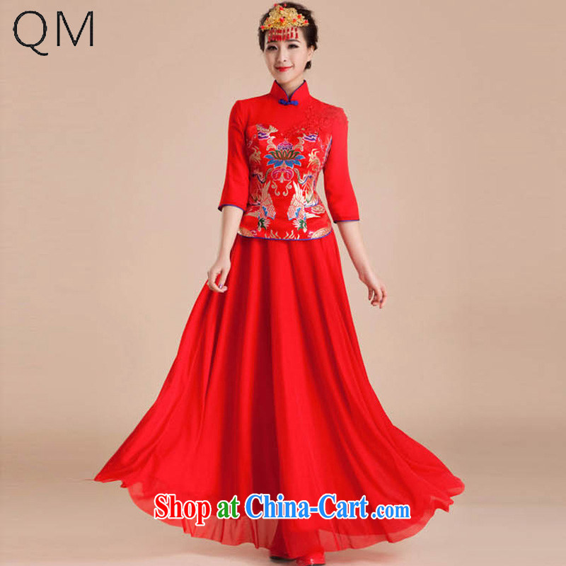 Light (at the end) QM dresses wedding dresses marriage retro improved toast in serving long-sleeved bridal long CTX QP 84 red XXL