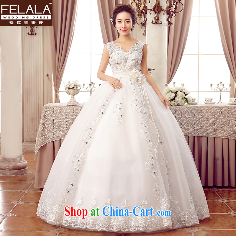 2015 new wedding Korean-style high-waist and elegant lace water drilling shoulders wedding XL _2 feet 2_