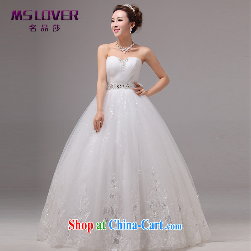 MSLover Korean high-waist graphics thin pregnant women wedding Princess bridal flowers lace wedding parquet drill wiped his chest to tie wedding HS 131,002 white tailored