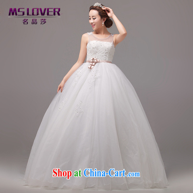 MSLover sexy back exposed Korean-style, high-waist pregnant women Beauty wedding lace-wood drill with straps bridal shaggy Princess wedding HS 131,007 m White tailored