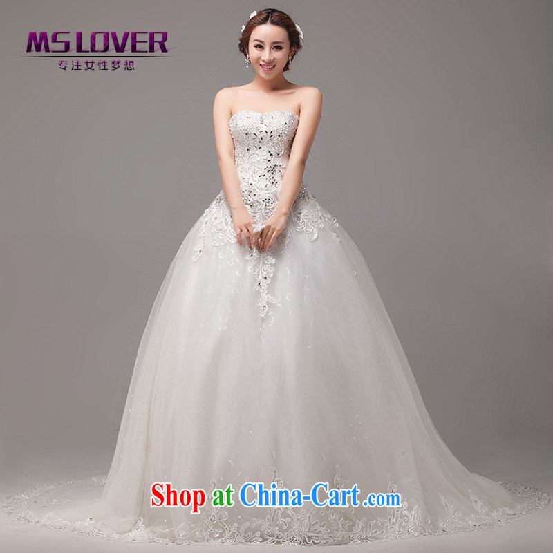 The MSLover drag and drop tail wedding bride's bare chest wedding wood drill lace Princess style wedding home wedding HS 131,010 with a tailored